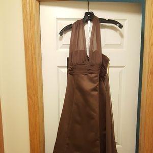Floor length chocolate brown halter gown